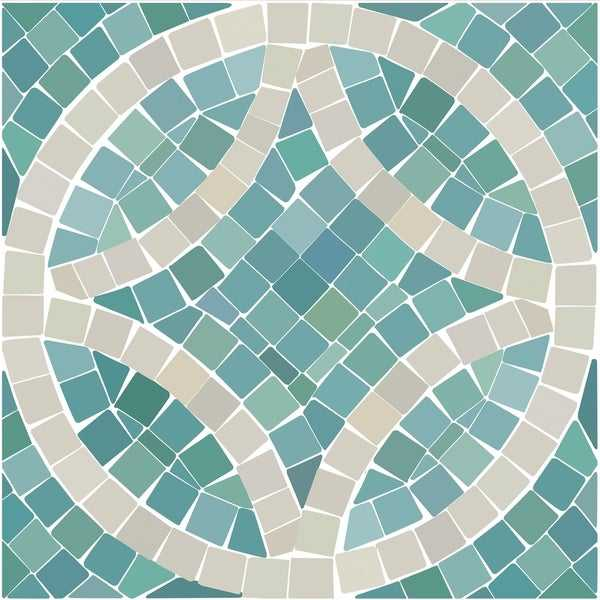 Con-Tact Brand Floor Adorn Adhesive Decorative and Removable Vinyl Floor Tiles, Seaglass Mosaic, 12'x12', Set of 6 in Pack of 6