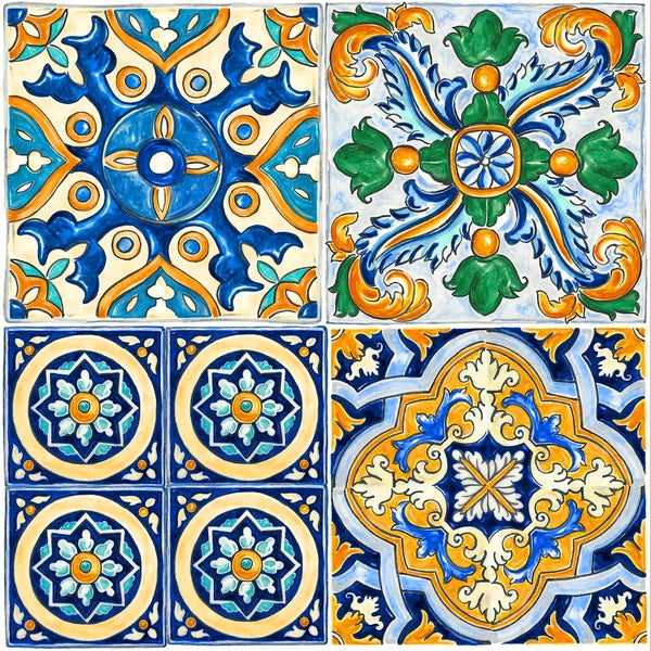 Con-Tact Brand Floor Adorn Adhesive Decorative and Removable Vinyl Floor Tiles, Mexican Tile, 12'x12', Set of 6 in Pack of 6