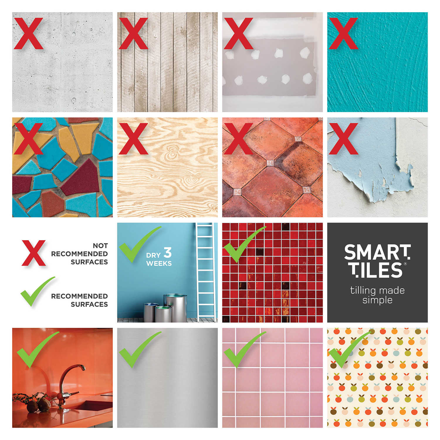 Smart Tiles 10.06 in x 10 in Peel and Stick Self-Adhesive Mosaic Backsplash Wall Tile - Bellagio Costa (each)