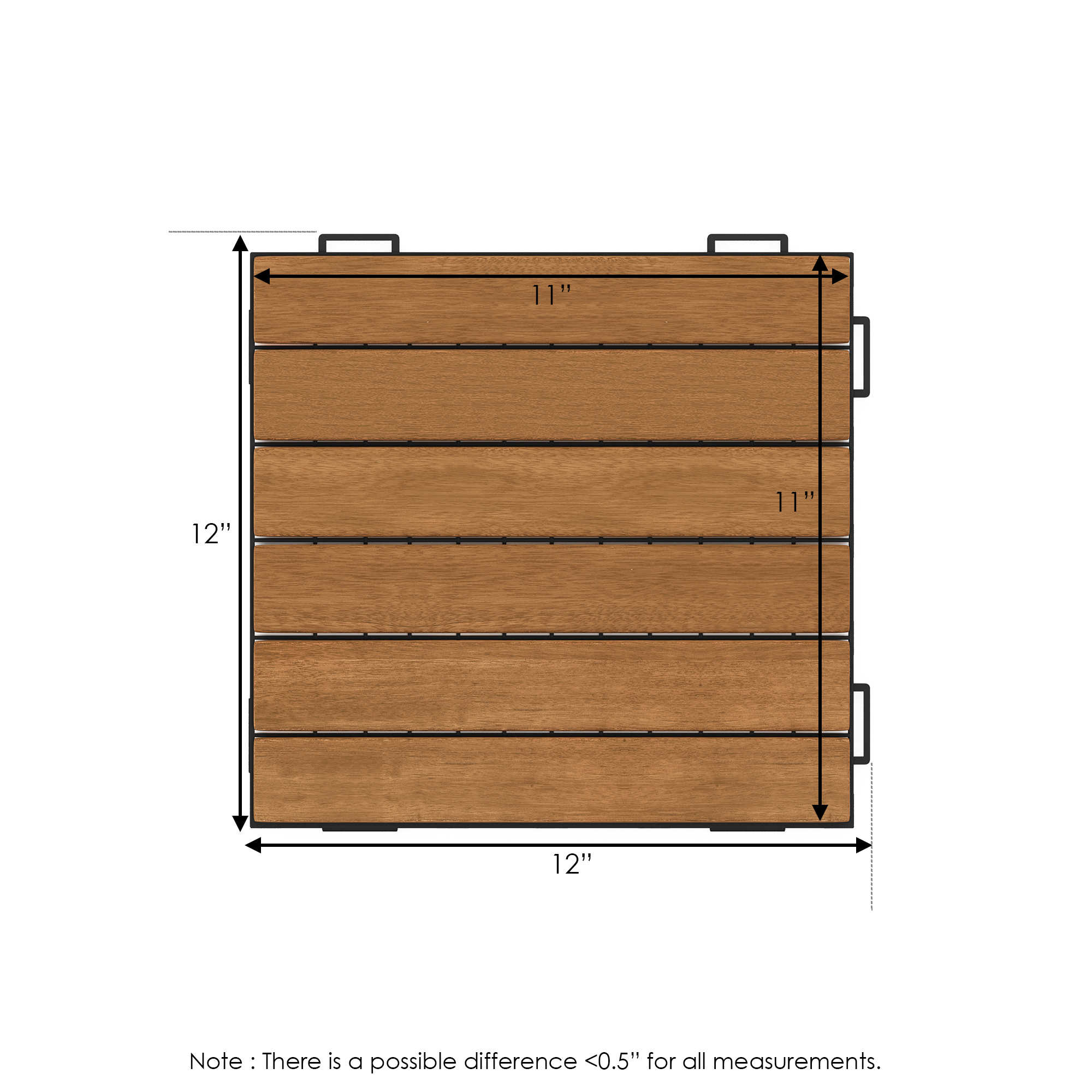 Furinno Tioman Outdoor Floor Decking Wood Tile Interlock 10PC/CTN, Honey Oak Color, FG181034