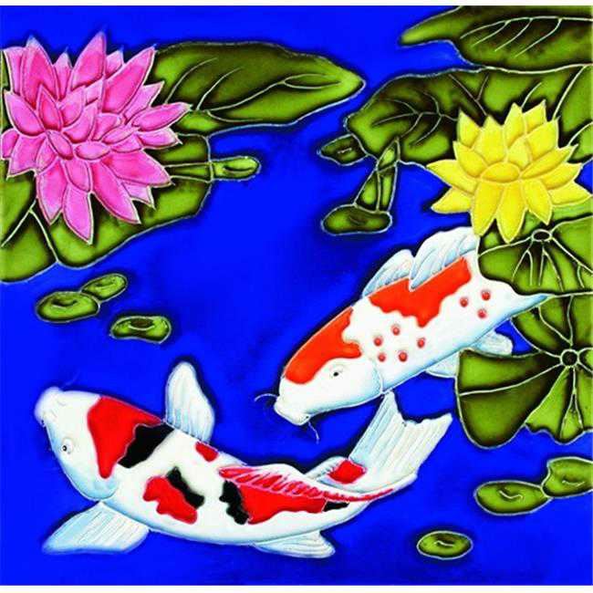 En Vogue B-10 Koi Fish - Decorative Ceramic Art Tile - 8 in. x 8 in.