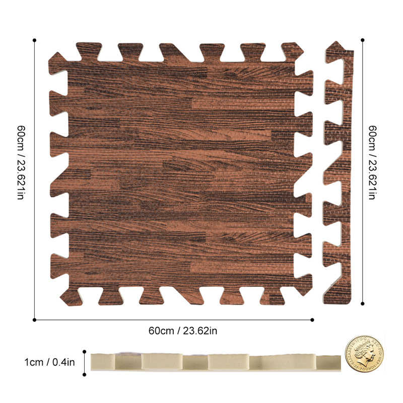 18pcs 30×30cm Wood Grain Floor Mat 0.4 inch Thick Interlocking Flooring Tiles with Borders for Exercise Fitness Gym Soft Yoga Trade Show Play Room(Deep Wood Grain)