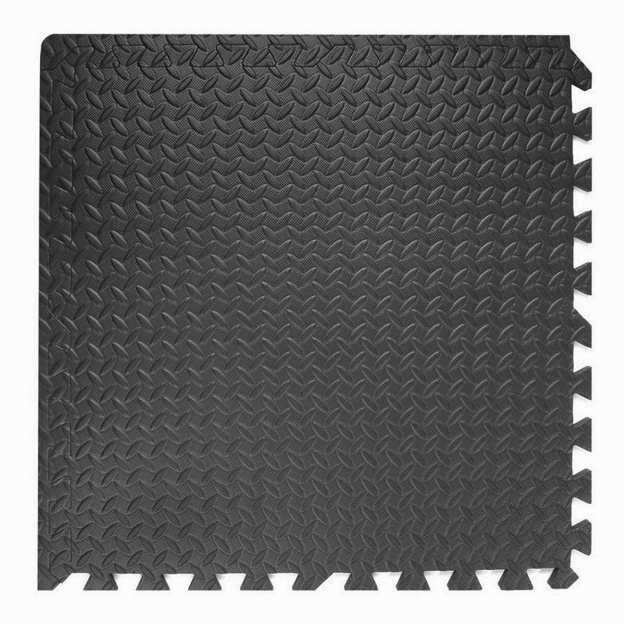 Clevr 96 SqFt Steel EVA Black Foam Floor Mat Interlocking Tile Workout Exercise Mat Cushion Gym 24pc | 1 YEAR LIMITED WARRANTY